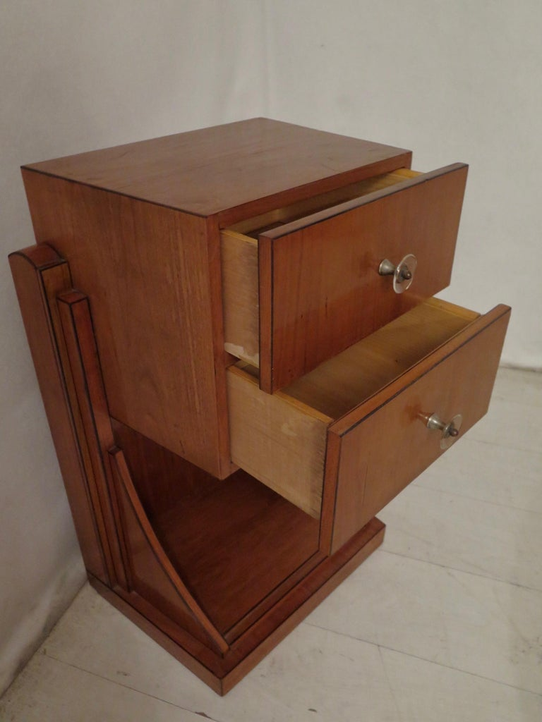 Mid-Century Modern Midcentury Cherrywood and Glass Bedside Table, 1940 For Sale
