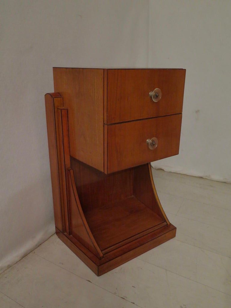 Italian Midcentury Cherrywood and Glass Bedside Table, 1940 For Sale
