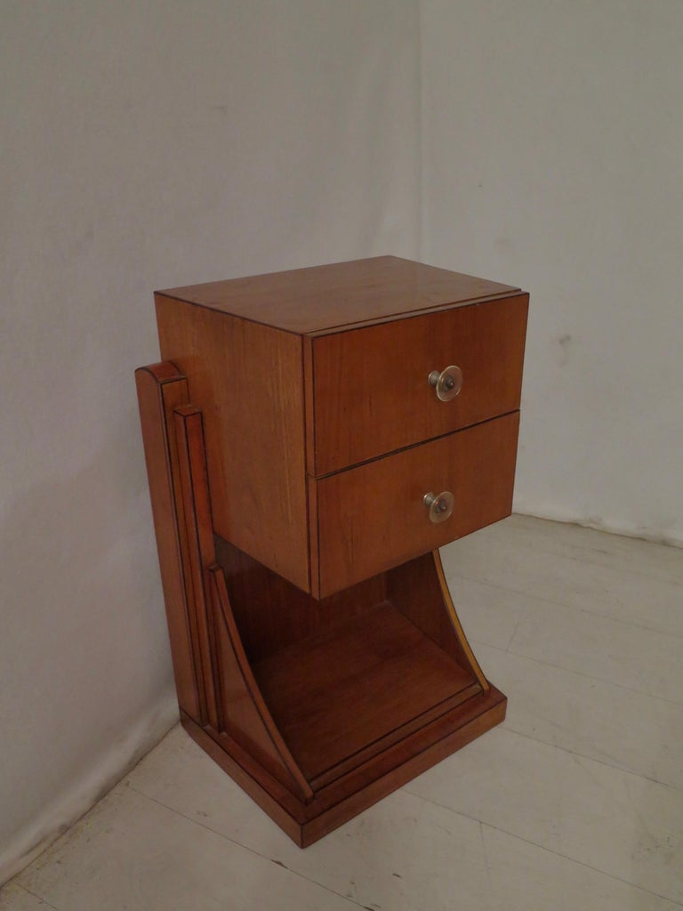 Veneer Midcentury Cherrywood and Glass Bedside Table, 1940 For Sale