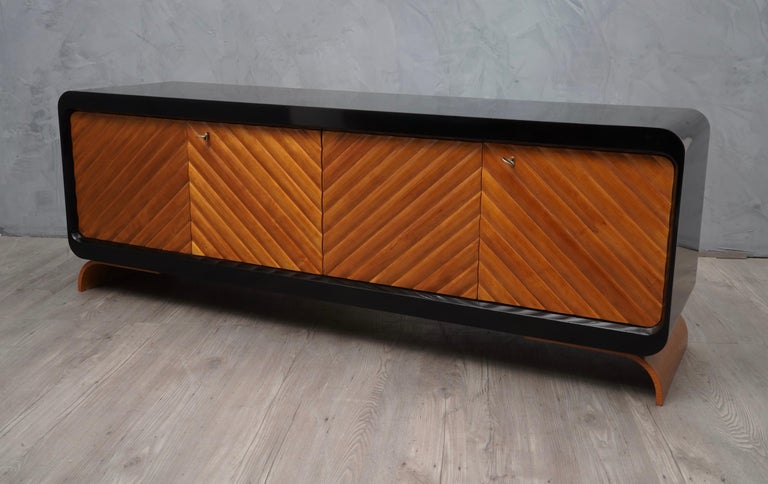 Midcentury Cherrywood Italian Sideboards, 1950 In Excellent Condition For Sale In Rome, IT