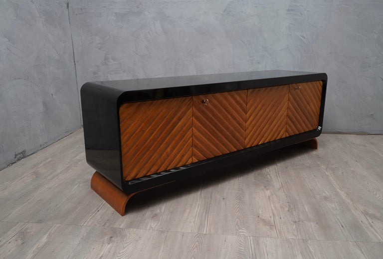 Brass Midcentury Cherrywood Italian Sideboards, 1950 For Sale