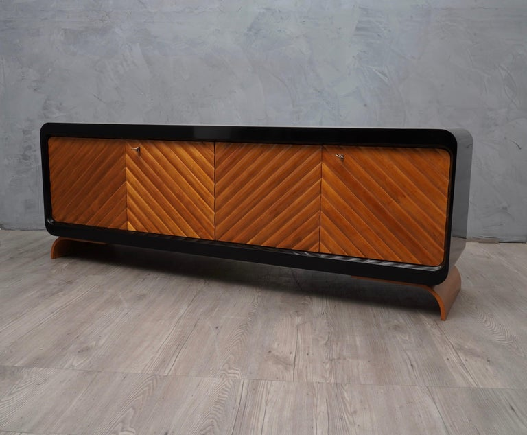 Midcentury Cherrywood Italian Sideboards, 1950 For Sale 2