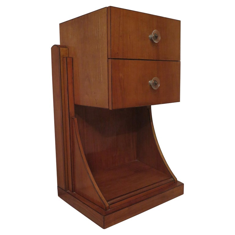 Midcentury Cherrywood and Glass Bedside Table, 1940 For Sale
