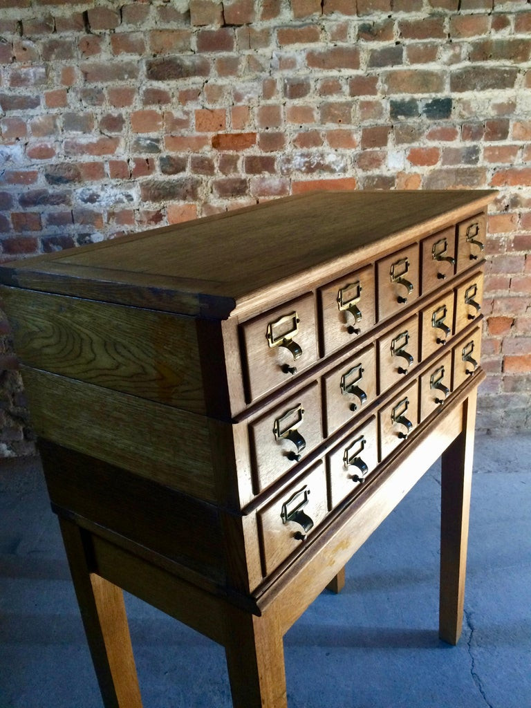20th Century Midcentury Chest of Drawers Haberdashery Industrial Loft Style Oak For Sale