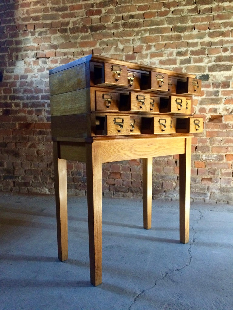 Midcentury Chest of Drawers Haberdashery Industrial Loft Style Oak For Sale 1