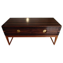 Midcentury Chest of Drawers or Low Table Ebene De Macassar and Brass Handles