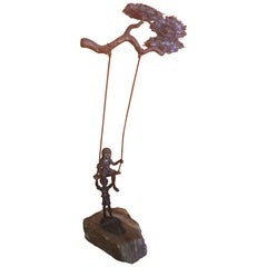 "Midcentury ""Children on Swing"" Sculpture by Bijian"