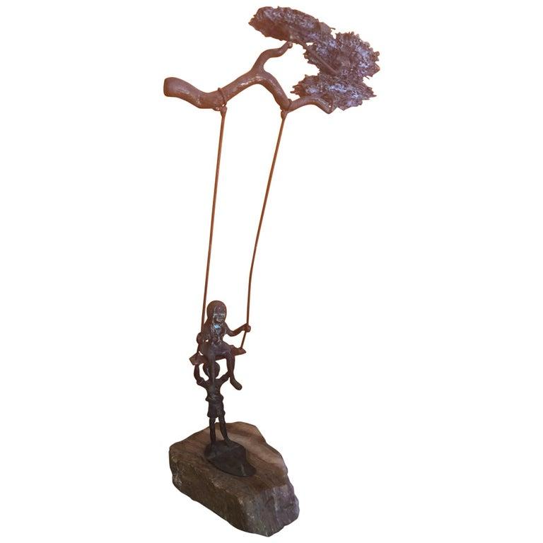 "Midcentury ""Children on Swing"" Sculpture by Bijian For Sale"