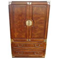 Midcentury Chin Hua Campaign Armoire by Bernhardt
