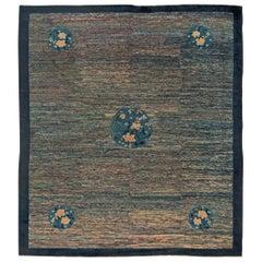 Midcentury Chinese Art Deco Blue Handmade Wool Rug