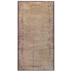 Midcentury Chinese Art Deco Brown Handwoven Wool Rug