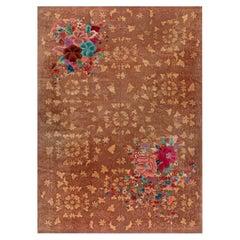 Midcentury Chinese Art Deco Brown, Red, Green, Purple and Blue Handmade Wool Rug