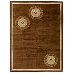 Midcentury Chinese Art Deco Handmade Wool Rug in Chocolate Brown, Ivory & Beige