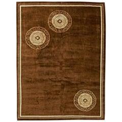 Midcentury Chinese Art Deco Handmade Wool Rug in Chocolate Brown, Ivory & Beige