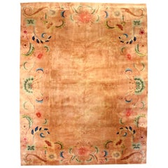 Midcentury Chinese Art Deco Light Brown Rug with Lotus Flower Design