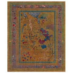 Midcentury Chinese Art Deco Rug in Blue, Gold, Green, and Purple