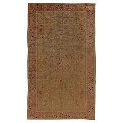 Midcentury Chinese Art Deco Tan, Blue and Dusty Rose Handmade Wool Rug