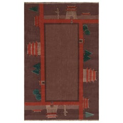 Midcentury Chinese Art Deco Wool Rug in Dark Red and Green