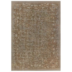 Midcentury Chinese Brown Handmade Wool Rug in Brown and Beige