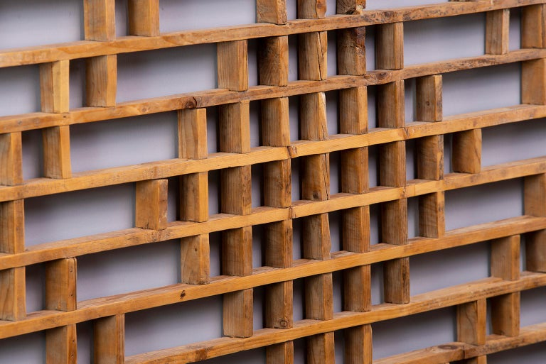 Chinoiserie Midcentury Chinese Carved Rustic Wooden Window Screen For Sale
