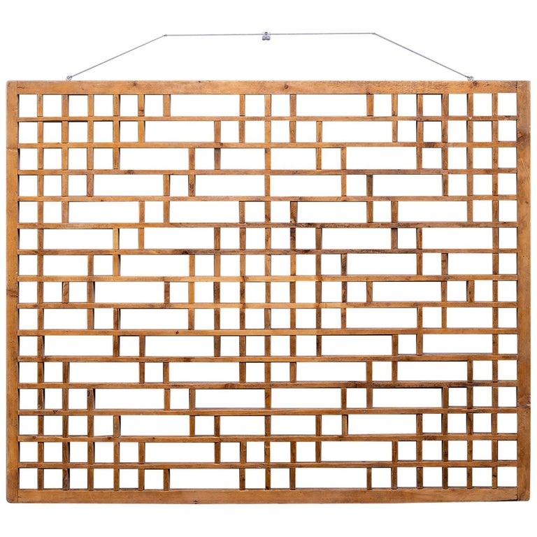 Midcentury Chinese Carved Rustic Wooden Window Screen For Sale