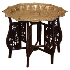 Midcentury Chinese Carved Six-Leg Folding Table Base with Engraved Brass Top