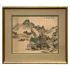 Midcentury Chinese Export Landscape Painting on Silk, Green Mat
