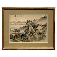 Midcentury Chinese Export Landscape Painting on Silk, White Mat
