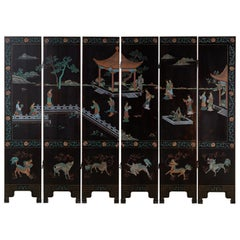 Midcentury Chinese Export Six-Panel Lacquered Coromandel Screen