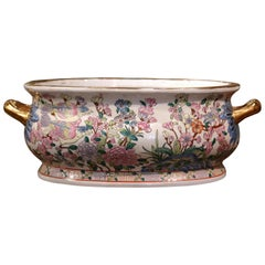 Midcentury Chinese Famille Rose Painted Porcelain and Gilt Foot Bath Bowl