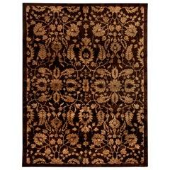 Midcentury Chinese Floral Brown and Beige Handmade Wool Rug
