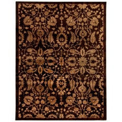 Midcentury Chinese Floral Brown and Beige Handmade Wool Rug