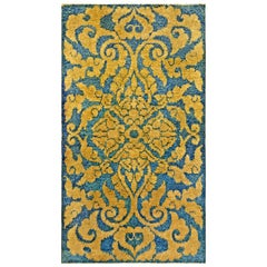 Midcentury Chinese Handmade Wool Rug in Blue and Gold Floral Design