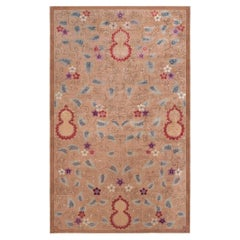 Midcentury Chinese Handmade Wool Rug in Light Brown, Red, Purple, Red and Ivory
