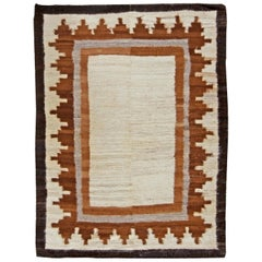 Mongolian Flatweave in Shades of Ivory, Brown and Grey
