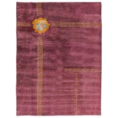 Midcentury Chinese Purple and Orange Handmade Wool Rug