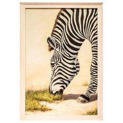 "20th Chinese oil on canvas,Signed ""Zebra"""