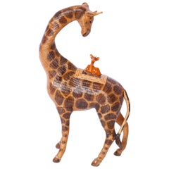 Midcentury Chinese Wicker Giraffe Box