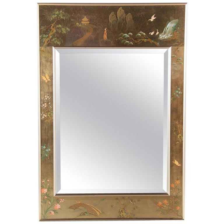 Mid-Century Chinoiserie Hand-Painted Mirror For Sale