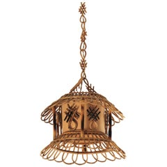 Midcentury Chinoiserie Rattan Pagoda Pendant Hanging Light, France, 1950s