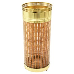Midcentury Christian Dior Crespi Style Brass, Rattan and Lucite Umbrella Stand