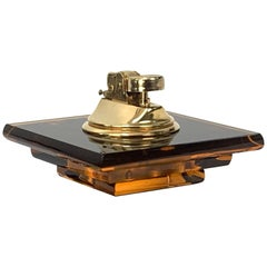 Midcentury Christian Dior Lucite, Tortoise Plexi and Brass French Table Lighter