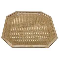 Midcentury Christian Dior Style Lucite Brass and Vienna Straw Serving Tray 1970s