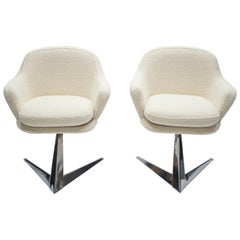 Mid Century Chrome and Bouclette Armchairs Attributed to Jacques Adnet, 1960s