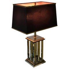 Midcentury Chrome and Brass Italian Table Lamp after Romeo Rega, 1970s