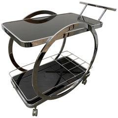Midcentury Chrome and Glass Bar Cart