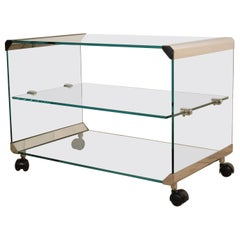 Midcentury Chrome and Glass Coffee Table, by Pierangelo Galotti for Galotti