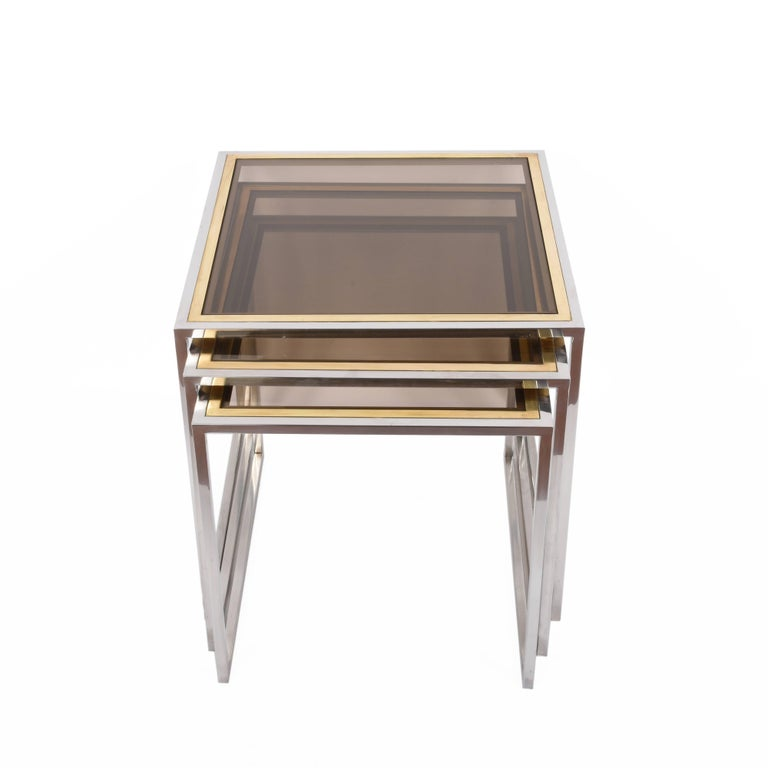 Midcentury Chrome, Brass and Smoked Glass Italian Nesting Tables, 1970s In Fair Condition For Sale In Roma, IT