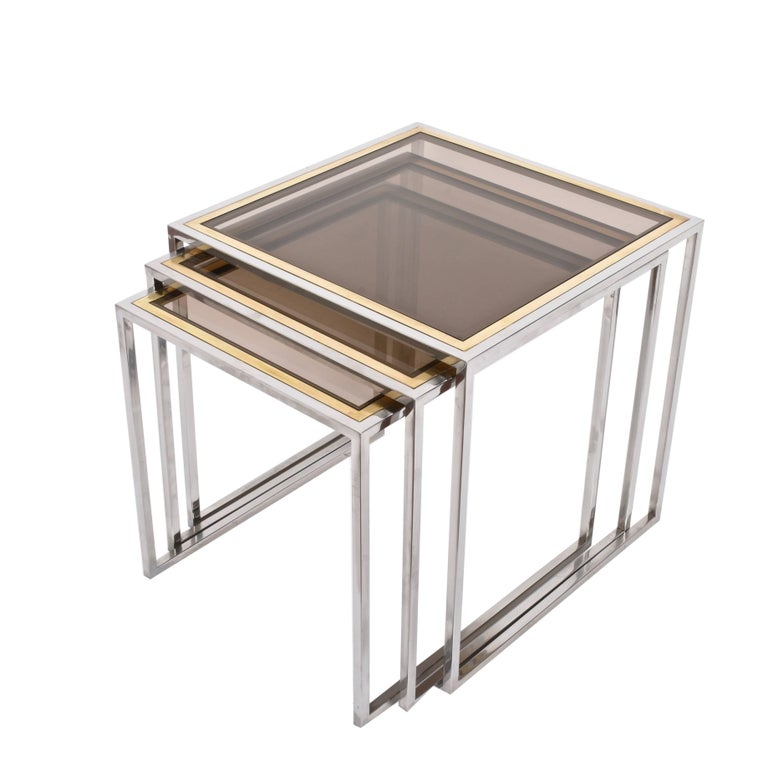 Midcentury Chrome, Brass and Smoked Glass Italian Nesting Tables, 1970s For Sale 3