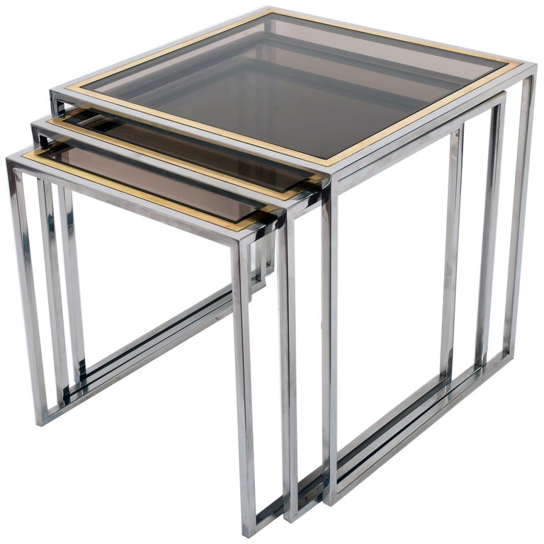 Midcentury Chrome, Brass and Smoked Glass Italian Nesting Tables, 1970s For Sale